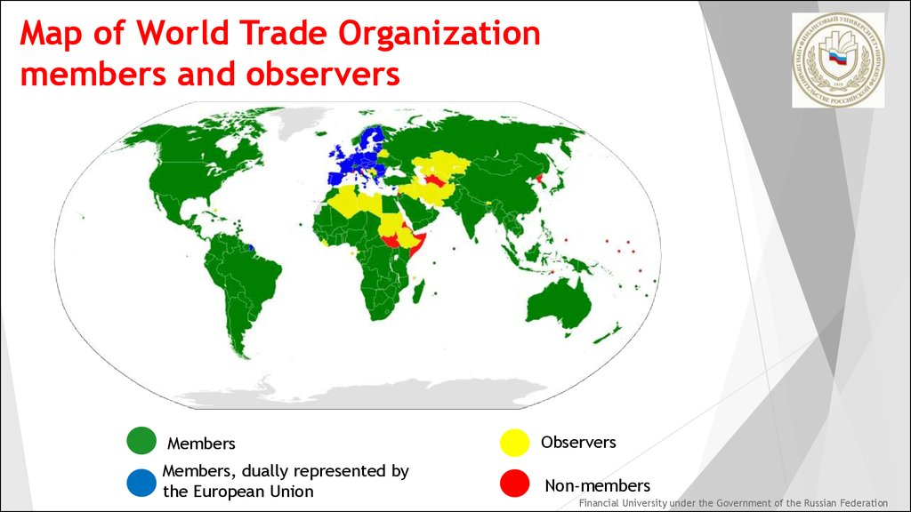 what role does the wto play in The wto was established in 1995 as a successor to the general agreement on tariffs and trade there are 160 members of the wto (as at 1 june 2014), with developing countries accounting for more than two-thirds of the membership.